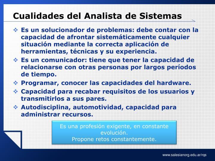 Cualidades del Analista de Sistemas
