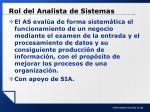 rol del analista de sistemas
