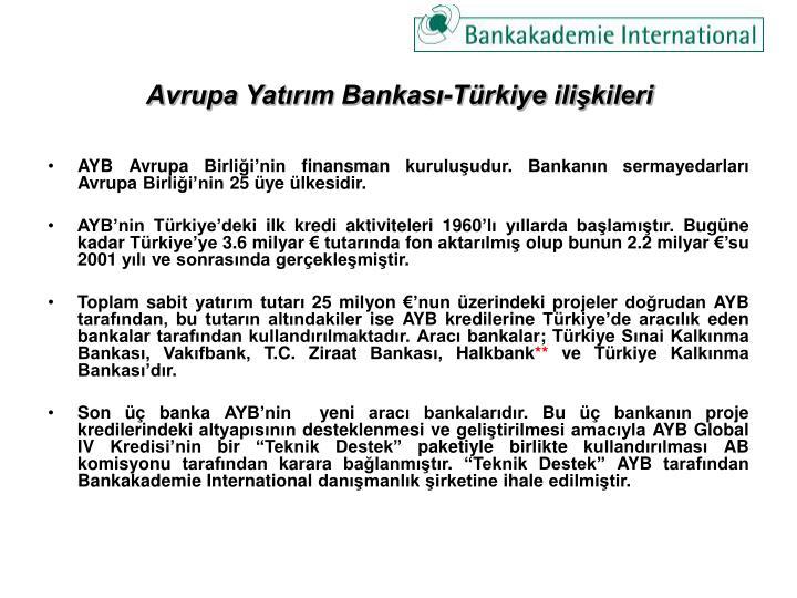 Avrupa Yatırım Bankası-Türkiye ilişkileri
