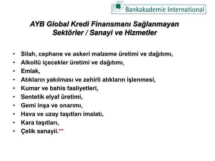 AYB Global Kredi Finansmanı Sağlanmayan