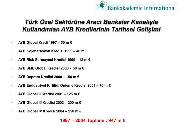Türk Özel Sektörüne Aracı Bankalar Kanalıyla Kullandırılan AYB Kredilerinin Tarihsel Gelişimi