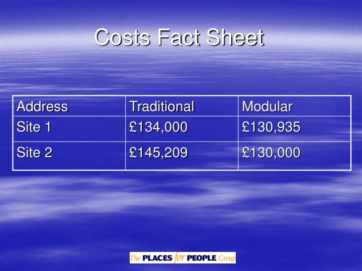 Costs Fact Sheet