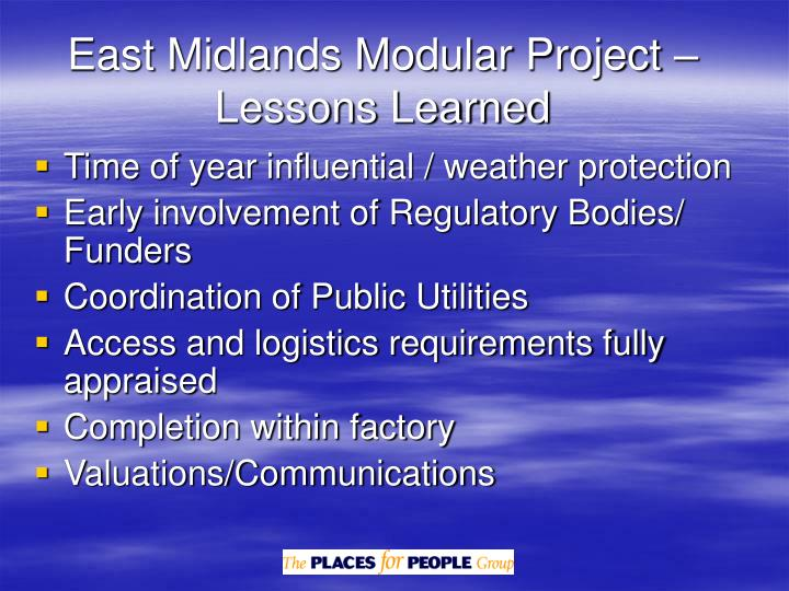 East Midlands Modular Project – Lessons Learned