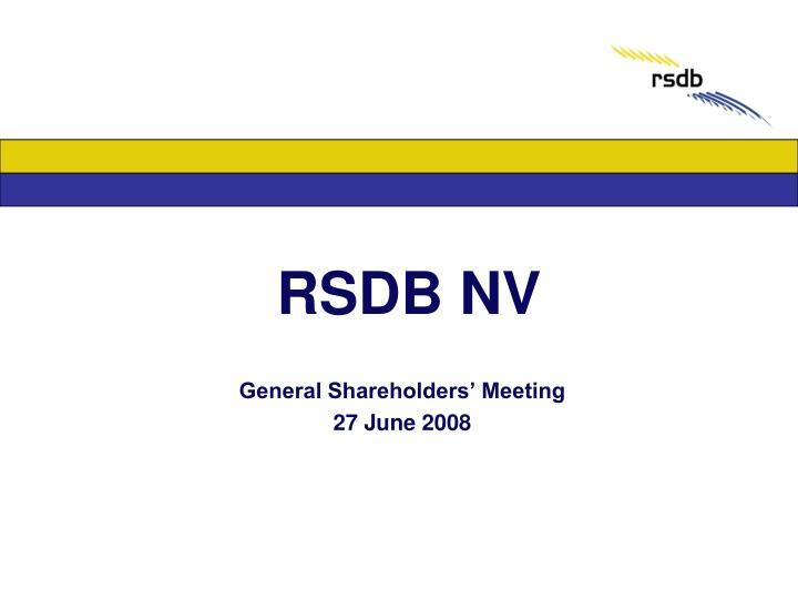 RSDB NV