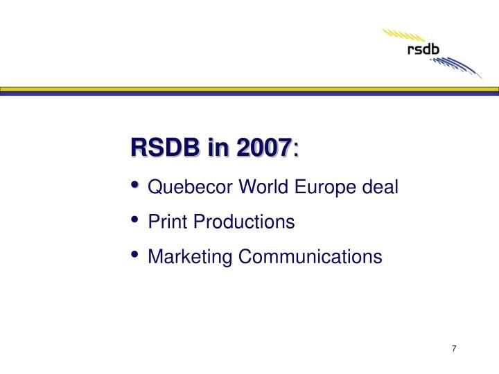 RSDB in 2007