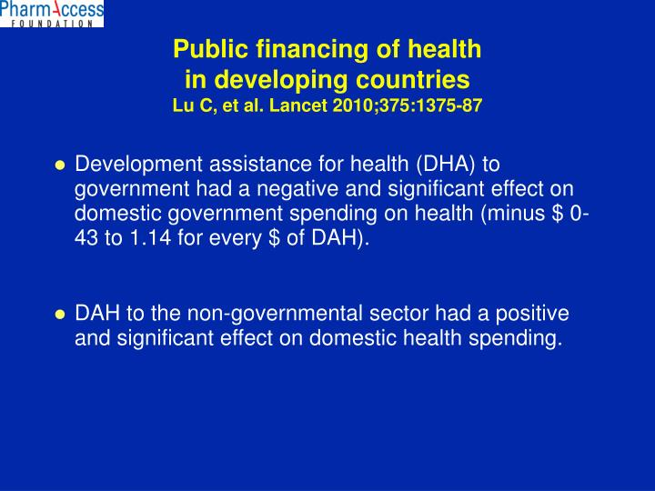 Public financing of health