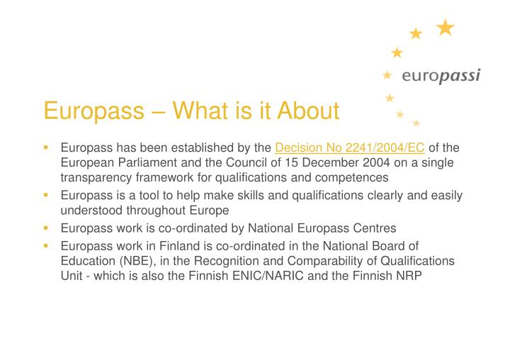 Europass – What is it About