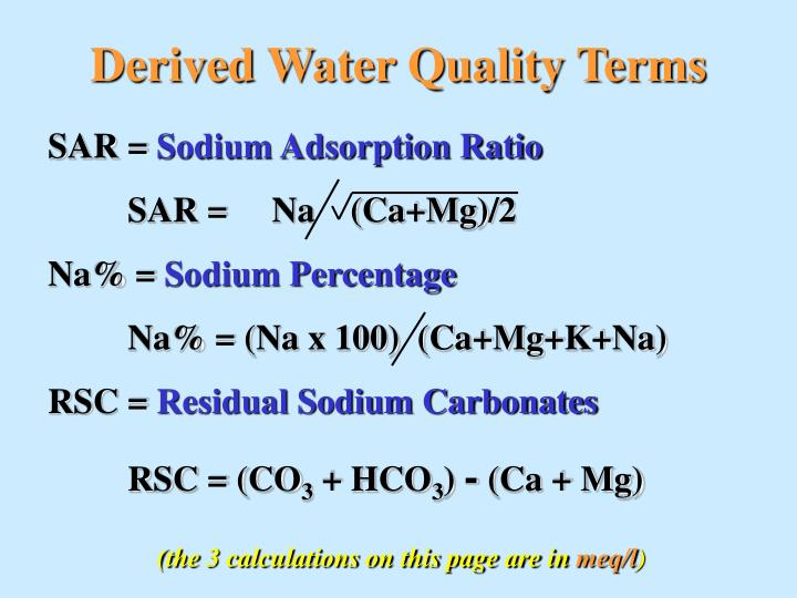 Derived Water Quality Terms