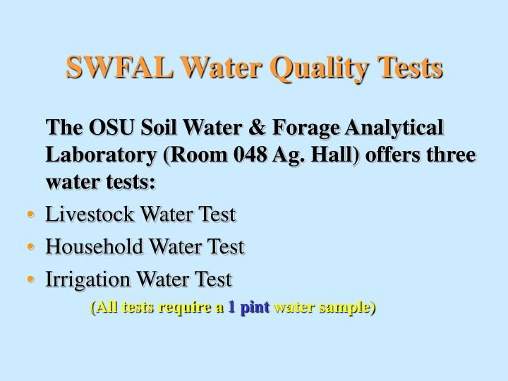 SWFAL Water Quality Tests