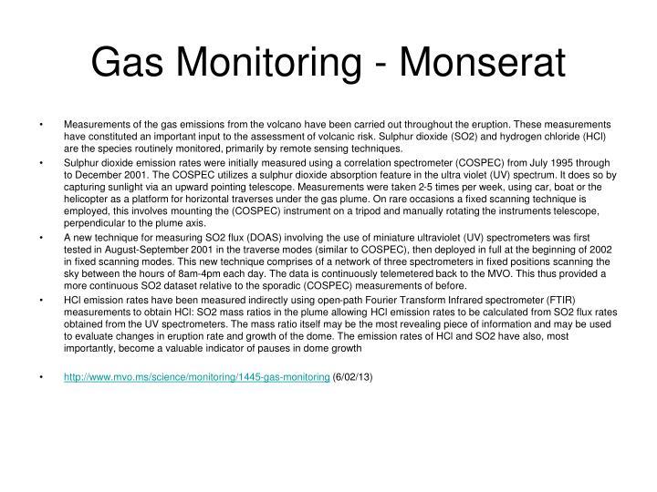 Gas Monitoring - Monserat