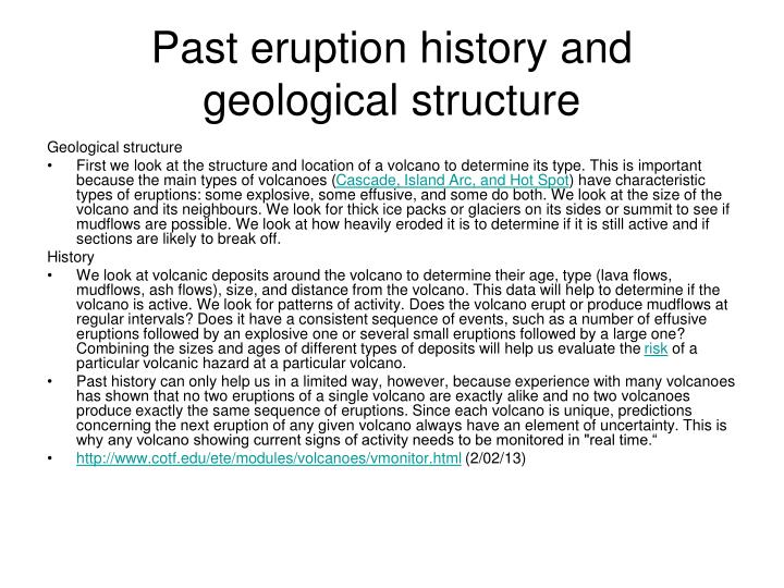 Past eruption history and geological structure
