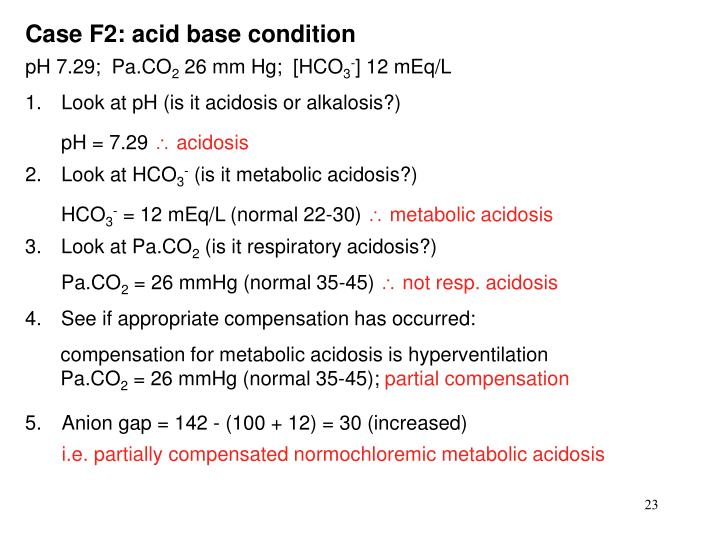 Case F2: acid base condition