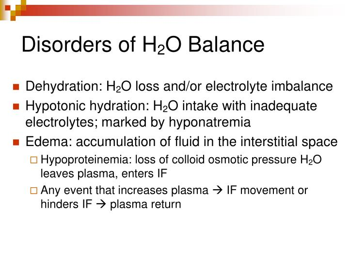 Disorders of H