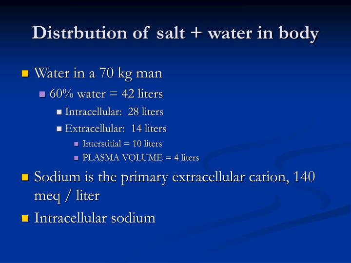 Distrbution of salt + water in body