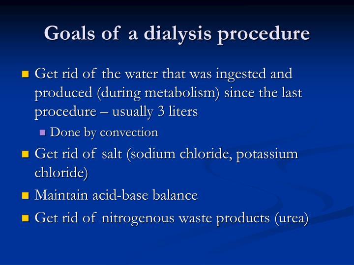Goals of a dialysis procedure