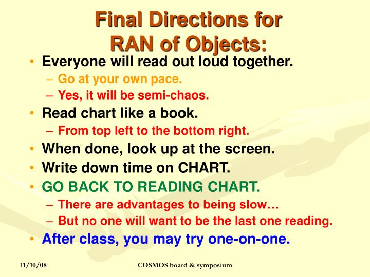 Final Directions for