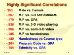 highly significant correlations1