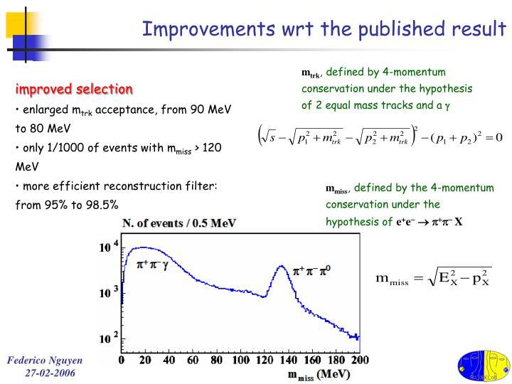 Improvements wrt the published result