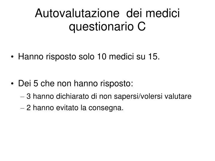 Autovalutazione  dei medici