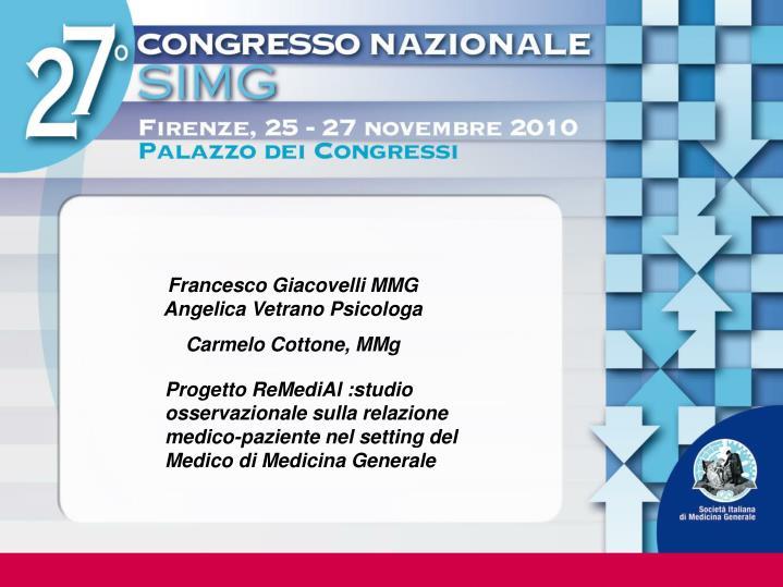 Francesco Giacovelli MMG   Angelica Vetrano Psicologa