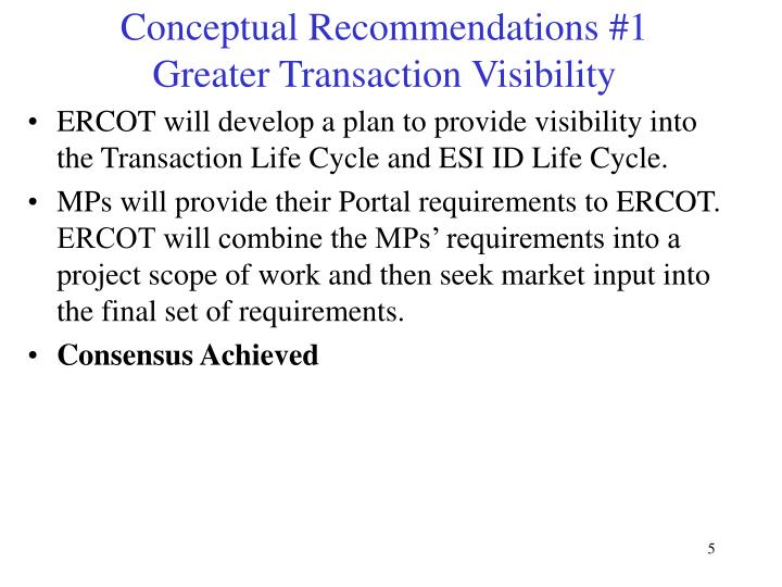 Conceptual Recommendations #1 Greater Transaction Visibility