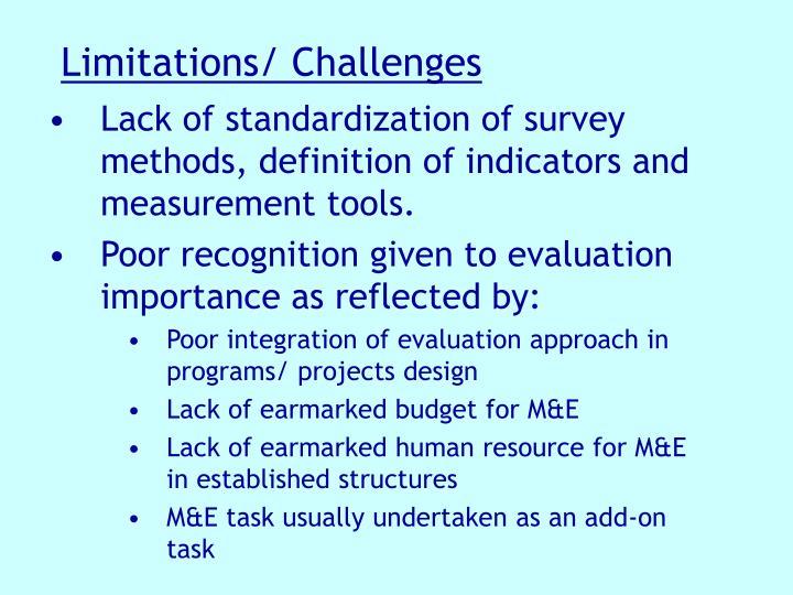 Limitations/ Challenges