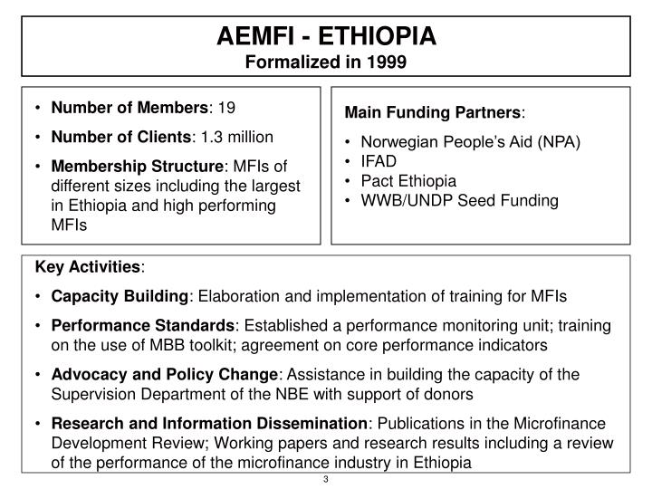 Aemfi ethiopia formalized in 1999