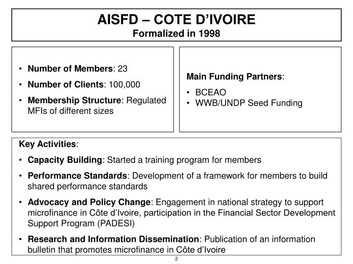 Aisfd cote d ivoire formalized in 1998