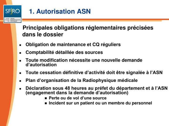 1. Autorisation ASN