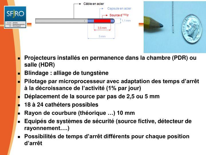 Projecteurs installés en permanence dans la chambre (PDR) ou salle (HDR)