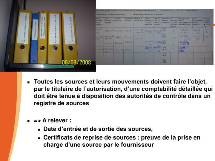 Toutes les sources et leurs mouvements doivent faire l'objet, par le titulaire de l'autorisation, d'une comptabilité détaillée qui doit être tenue à disposition des autorités de contrôle dans un  registre de sources
