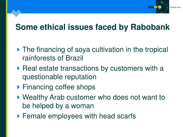Some ethical issues faced by Rabobank