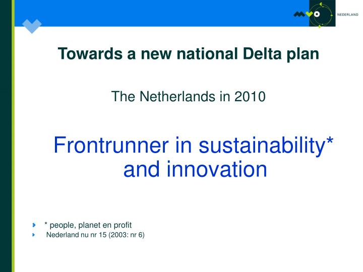 Towards a new national Delta plan