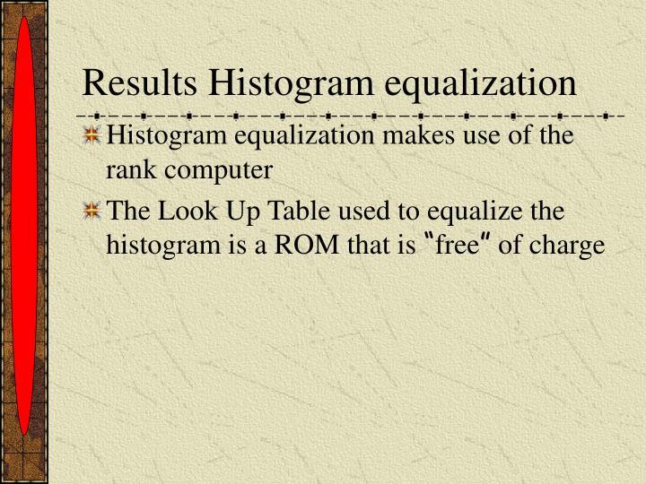Results Histogram equalization