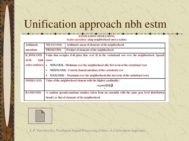 Unification approach nbh estm