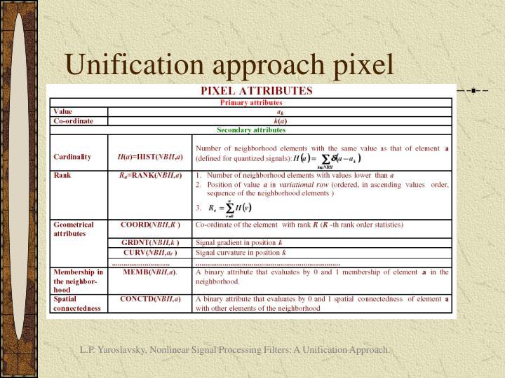 Unification approach pixel