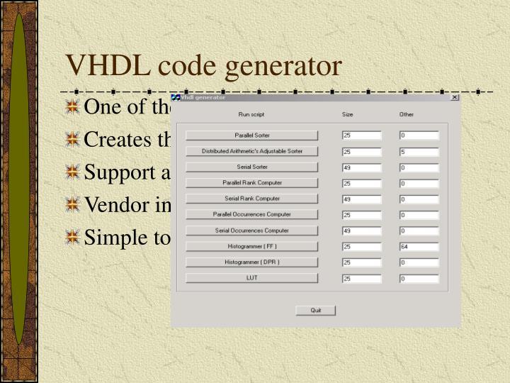 VHDL code generator