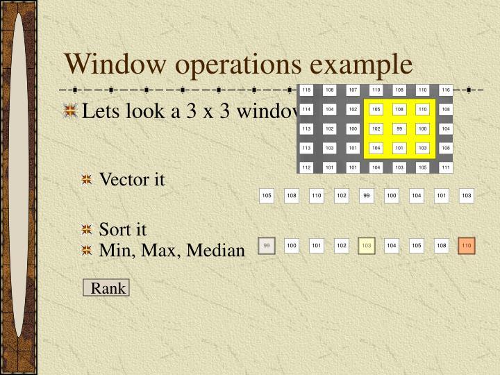 Window operations example