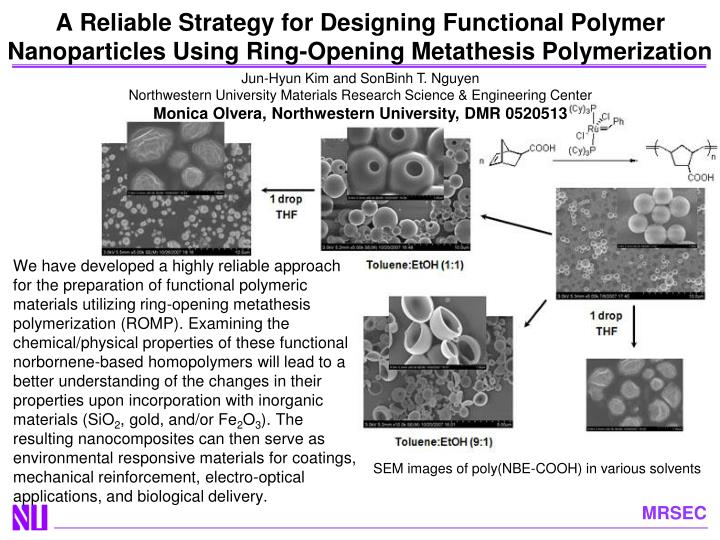 A Reliable Strategy for Designing Functional Polymer Nanoparticles Using Ring-Opening Metathesis Pol...