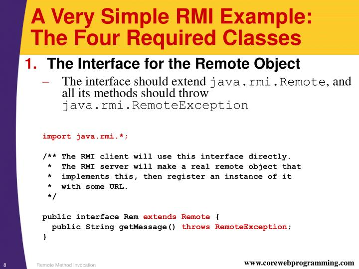A Very Simple RMI Example: