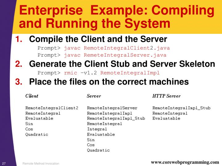 Enterprise  Example: Compiling and Running the System