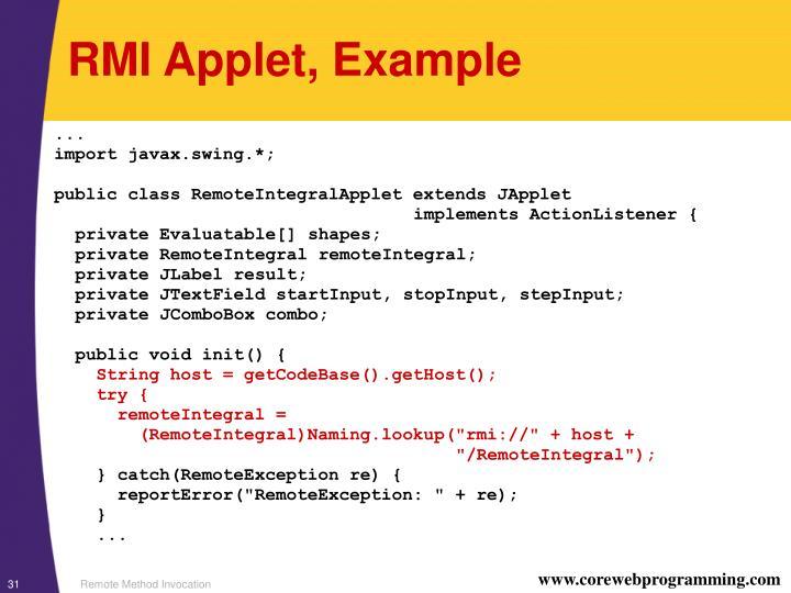 RMI Applet, Example
