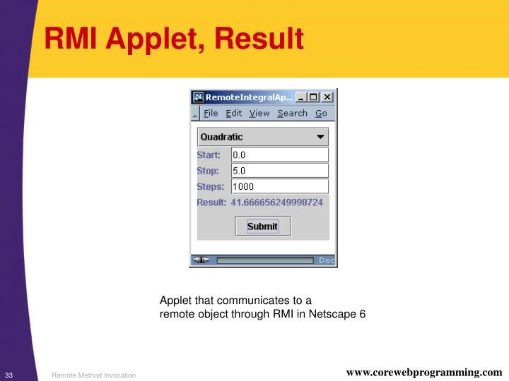 RMI Applet, Result