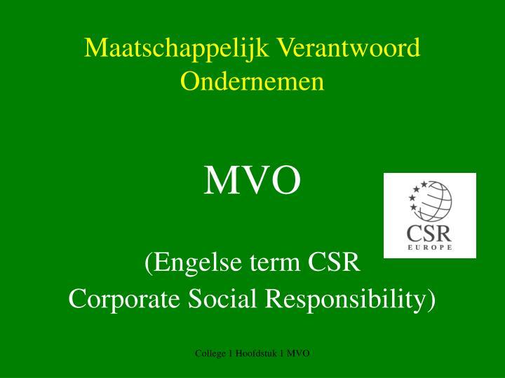 Maatschappelijk Verantwoord Ondernemen