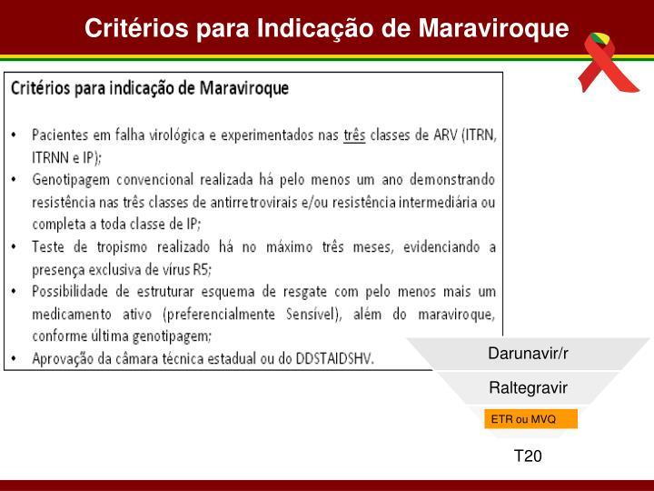 Critérios para Indicação de Maraviroque