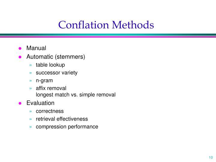 Conflation Methods