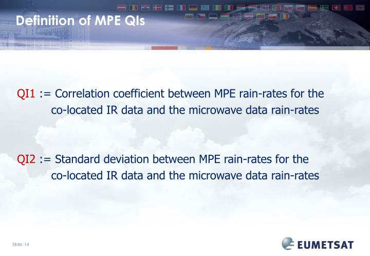 Definition of MPE QIs