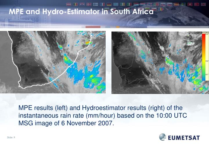 MPE and Hydro-Estimator in South Africa