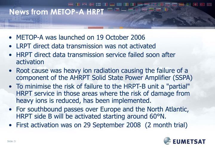 News from METOP-A HRPT