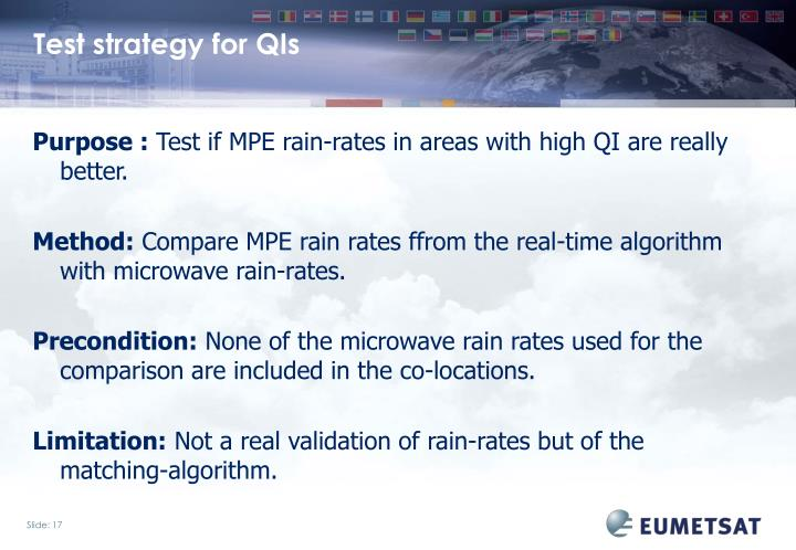 Test strategy for QIs